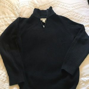 Black mock neck cable sweater